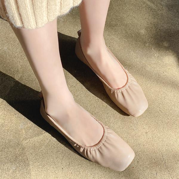 sh2147 유연한 패브릭으로 완성되어 편안한 둥근 스퀘어 앞코 셔링 밴딩 플랫슈즈 shoes
