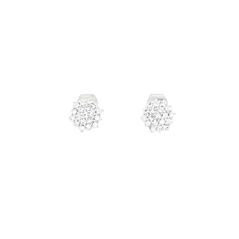 ac4859 고급스러운 무드의 블링하게 빛나는 실버 크리스탈 큐빅 눈꽃송이 미니 이어링 earring