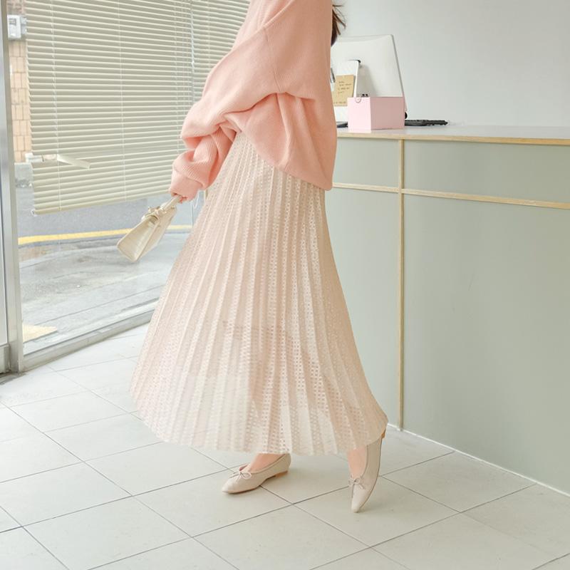 sk4551 로맨틱한 레이스 패브릭과 플리츠 디자인의 허리밴딩 A라인 롱스커트 skirt