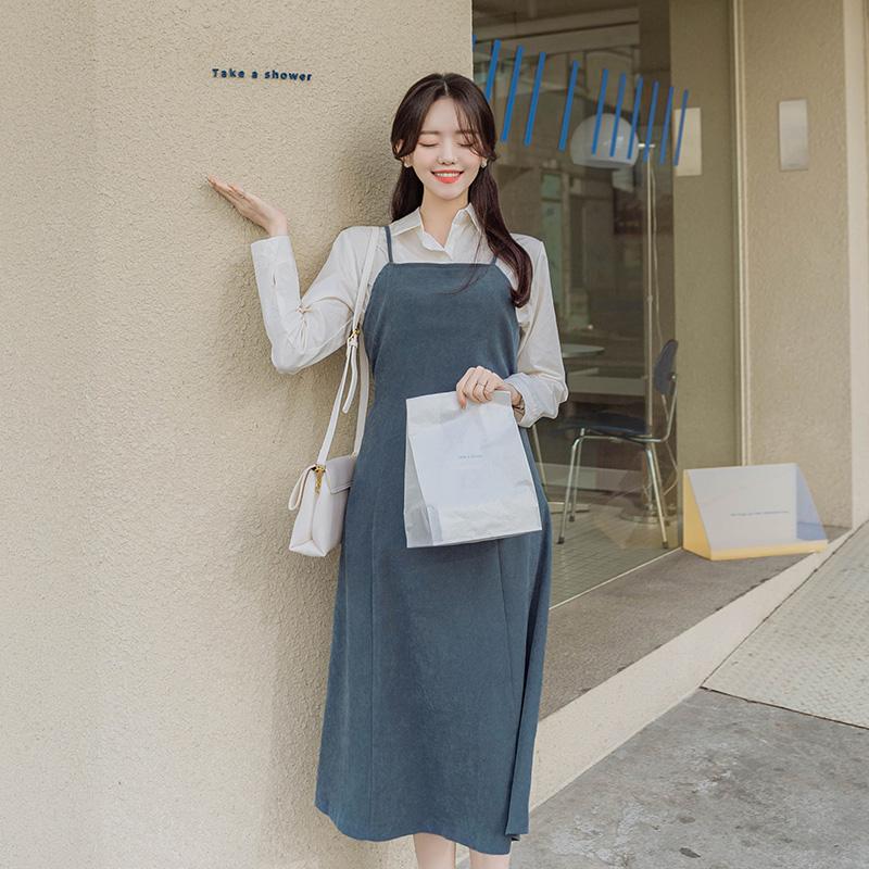op10593 부드러운 피치소재의 로맨틱한 뷔스티에 스타일의 벨티드 A라인 롱 원피스 dress