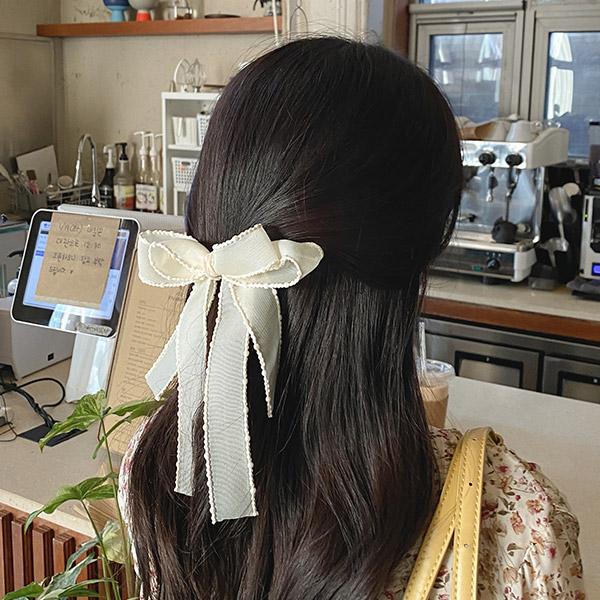 ac4870 소녀 감성 가득한 러블리한 무드의 폼폼레이스 장식 2중 빅 리본 헤어핀 hairpin