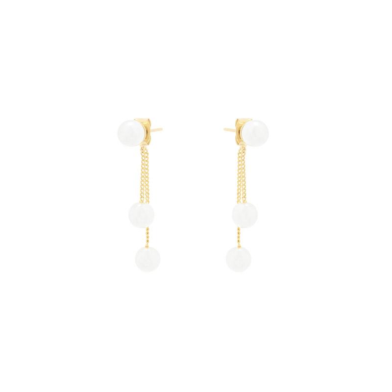 ac4872 로맨틱한 무드로 살랑이는 두줄라인 진주볼 포인트 드롭 이어링 earring