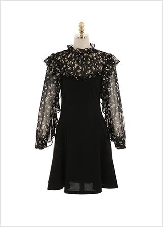 op10605 감각적인 잔꽃 패턴의 시스루 배색이 더해진 플레어 미니원피스 dress