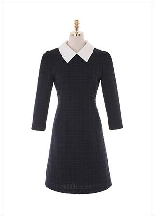 op10609 입체감있는 패브릭으로 제작된 A라인 카라넥 트위드 미디원피스 dress