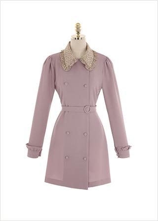 op10616 은은한 잔꽃 패턴이 드리워진 카라넥 포인트의 A라인 벨트 미니원피스 dress