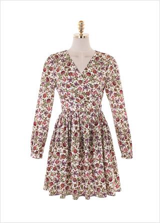 op10648 빈티지한 플라워 패턴으로 완성된 플레어 미니원피스 dress