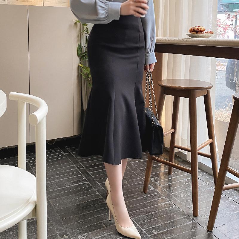 sk4582 로맨틱한 실루엣을 선사할 머메이드라인 미디롱 스커트 skirt