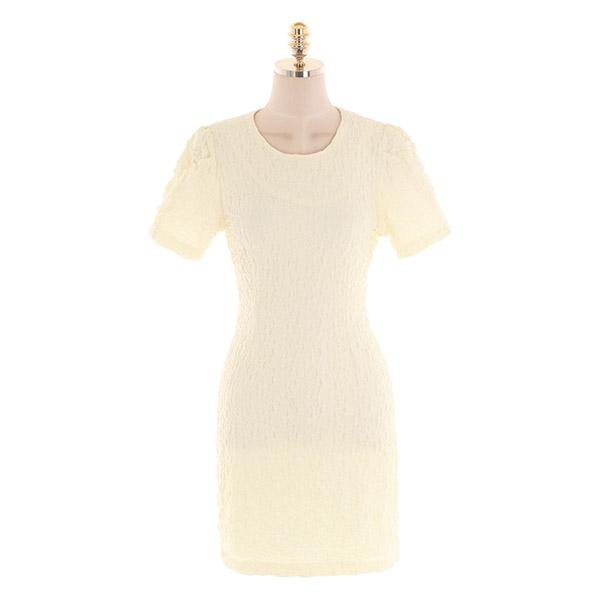 op10670 볼륨감 있는 링클 주름 소재의 퍼프소매 H라인 미니 원피스 dress