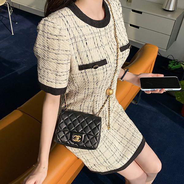 op10698 고급스럽고 깔끔한 배색 라인의 트위드 H라인 미니원피스 dress