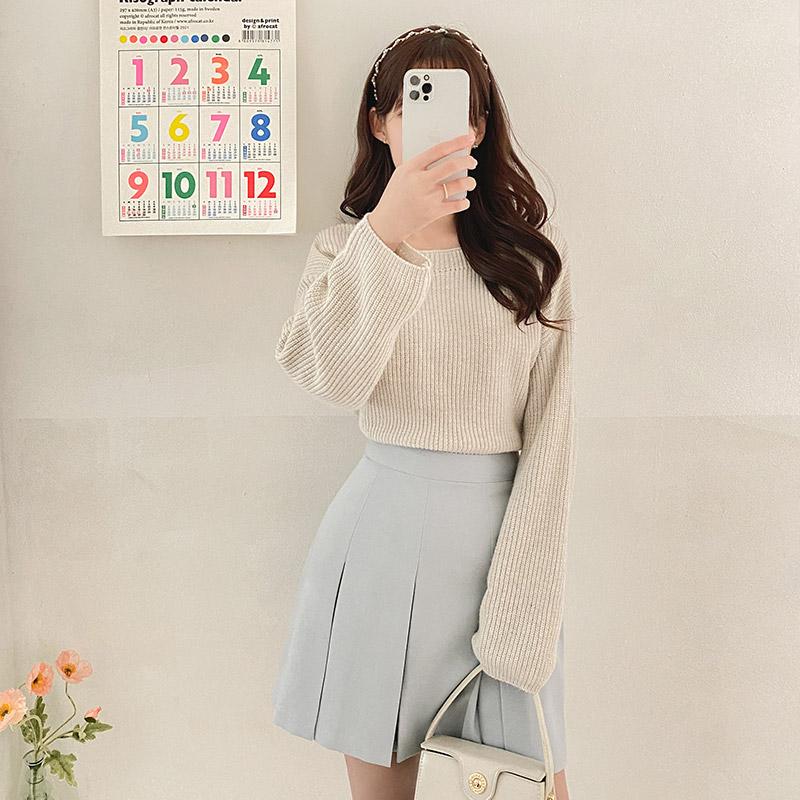 nt2637 여리한 레글런 소매 디자인의 입술넥 루즈핏 하찌짜임 니트 knit