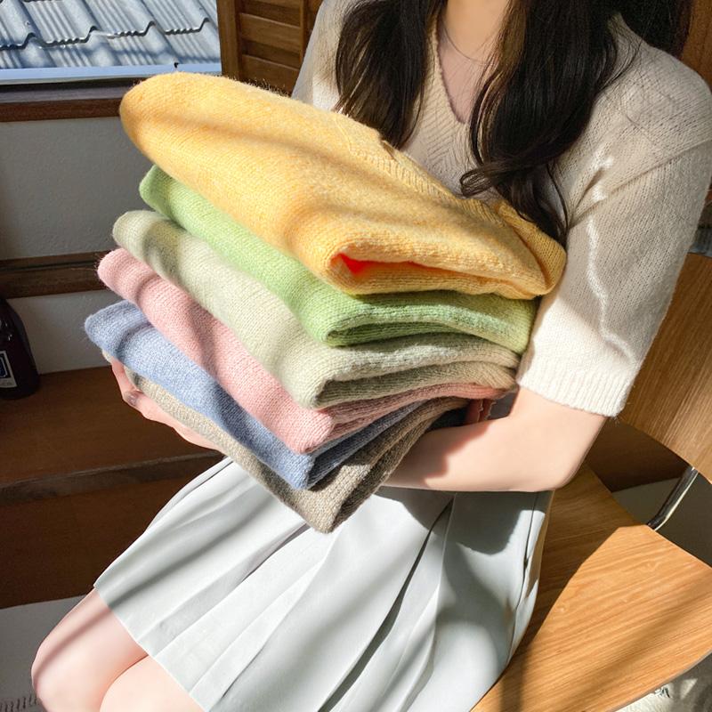 nt2639 다채로운 8가지 컬러구성의 보송보송 감촉 베이직 브이넥 반팔 니트 knit