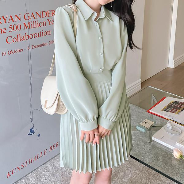 op10763 우아한 디자인의 카라넥 리본 뒷밴딩 플리츠 미니 원피스 dress