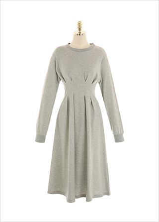 op10709 러블리한 꾸안꾸 무드의 허리핀턱 플레어 롱원피스 dress