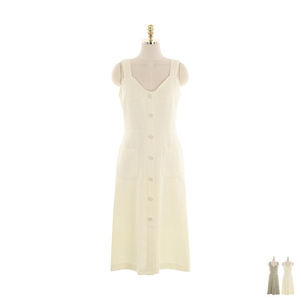 op10809 화사한 컬러감의 진주 버튼 포인트 트위드 서스펜더 플레어 롱원피스 dress