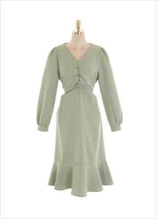 op10712 감각적인 바스트 셔링 포인트의 롱 머메이드 원피스 dress
