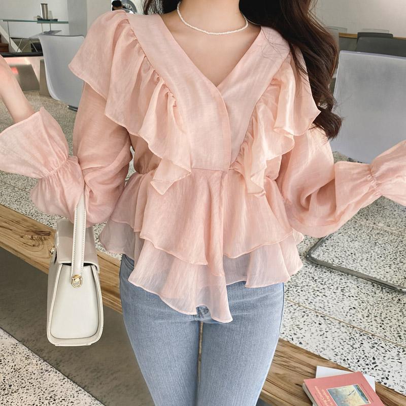 bs5734 사랑스러운 러플디자인의 V넥 텐셀 블라우스 blouse