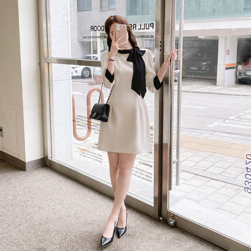 op10836 여성스러운 무드의 쉬폰 타이 배색 포인트 A라인 7부소매 미니 원피스 dress