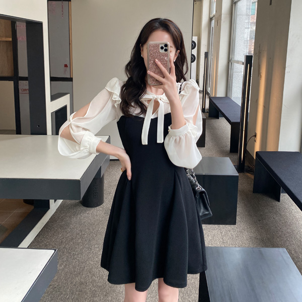 op10840 소매 트임 포인트의 시스루 배색 리본타이 플레어 미니 원피스 dress