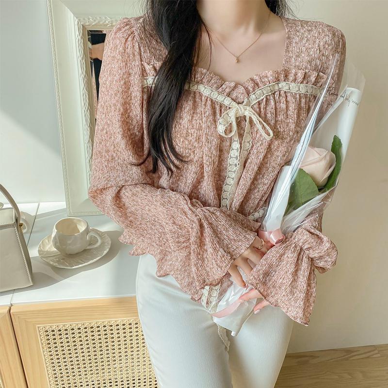 bs5742 로맨틱한 무드 가득한 이중 레이스 리본 미니 플라워 패턴 쉬폰 블라우스 blouse