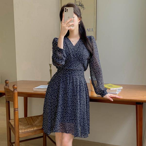 op10839 러블리한 무드의 랩 디자인 잔잔한 플라워 패턴 뒷리본 쉬폰 미니 원피스 dress