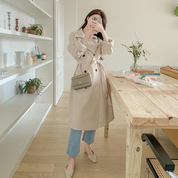 ct1320 클래식한 디자인의 루즈핏 더블 버튼 벨티드 스트랩 롱 트렌치 코트 coat