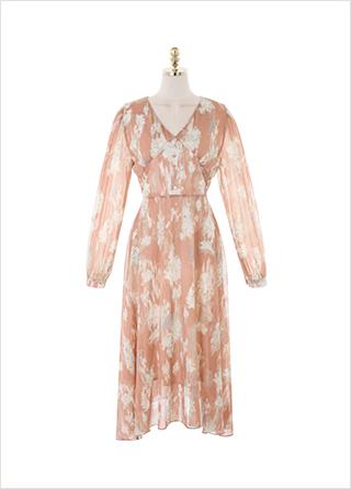 op10849 은은한 플라워 패턴이 돋보이는 밴딩 롱 플레어 원피스 dress