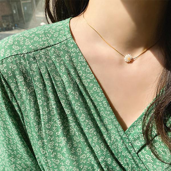 ac4948 소녀스러운 감성의 데이지 플라워 팬던트 네크리스 necklace