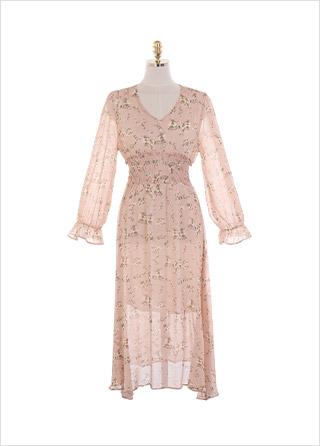 op10913 여성스러운 플라워 패턴의 스모크 밴딩 시스루 A라인 롱원피스 dress