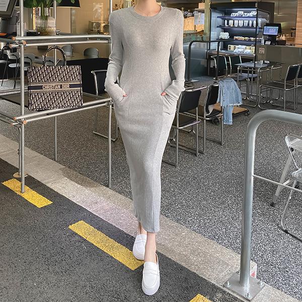op10920 완벽한 바디라인을 완성해줄 슬림핏 디자인의 숄더패드 H라인 골지 니트 롱 원피스 dress