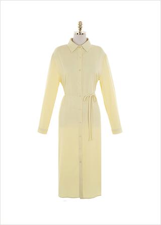 op10938 산뜻한 컬러감의 벨트 세트 오버핏 롱 H라인 셔츠원피스 dress