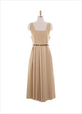 op10952 우아한 라인의 서스펜더 스퀘어넥 벨트 플리츠 롱원피스 dress