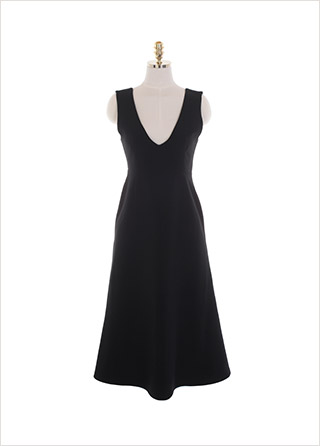 op10958 클래식한 무드를 자아내는 브이넥 베이직 서스펜더 머메이드 롱원피스 dress
