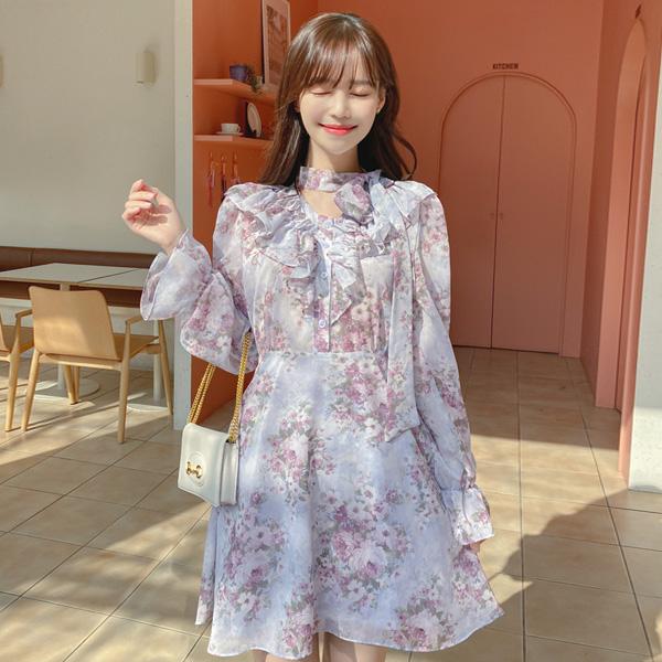 op10970 사랑스러운 플라워 패턴의 리본 타이 프릴넥 미니 플레어 원피스 dress