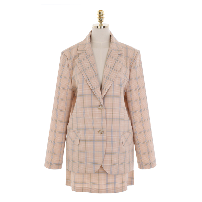jk1534 은은한 포인트룩의 체크패턴 테일러드 자켓과 A라인 미니스커트 세트 jacket set