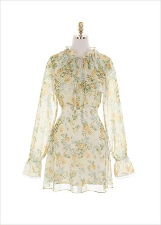 op11011 러블리한 플라워 패턴의 프릴넥 A라인 쉬폰 리본 미니원피스 dress