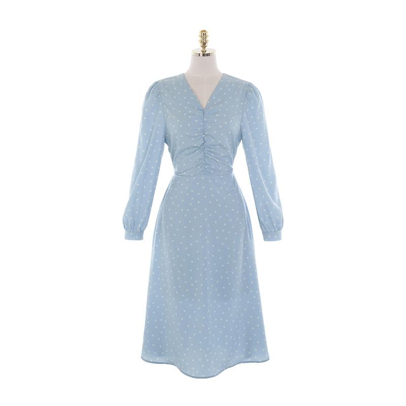 op11012 소녀감성의 민들레 플라워 패턴 앞셔링 브이넥 리본 롱원피스 dress