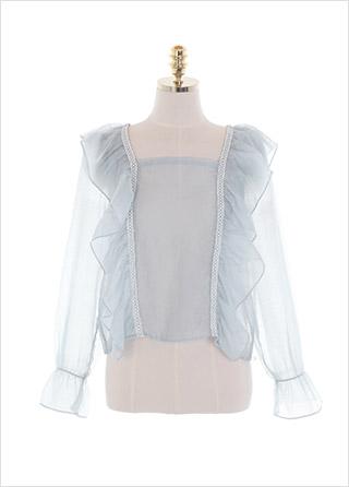bs5851 청순한 분위기의 시스루 레이스 프릴 백리본 포인트 스퀘어넥 블라우스 blouse