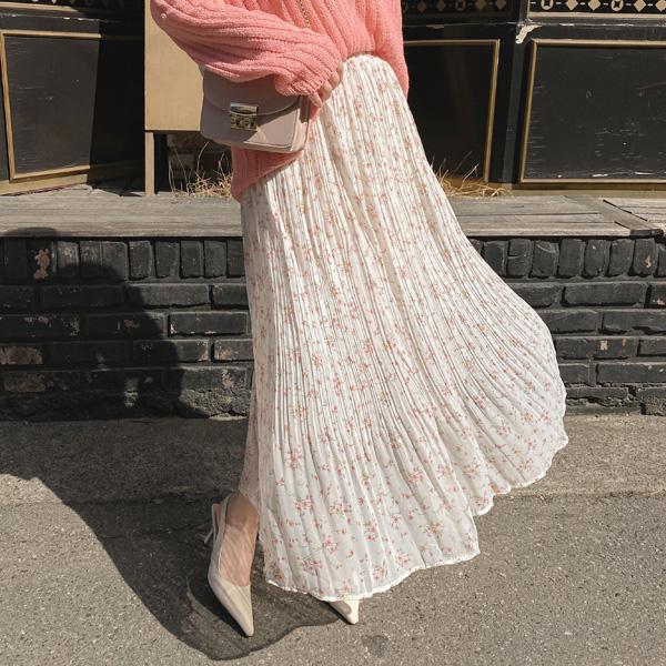 sk4698 하늘하늘한 실루엣의 잔꽃 프린팅 주름 롱 스커트 skirt