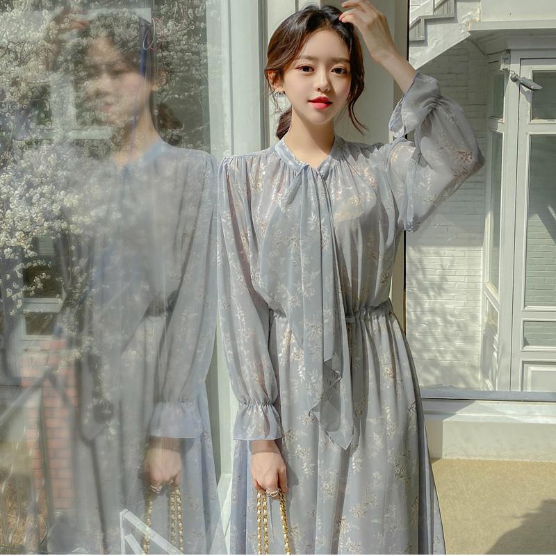 op11051 하이퀄리티 플라워 시스루 소재의 플레어라인 타이넥 롱 원피스 dress
