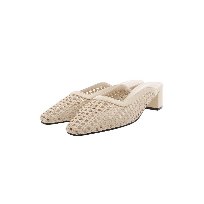 sh2269 시원한 라탄 짜임으로 제작된 페미닌 미들굽 뮬 shoes