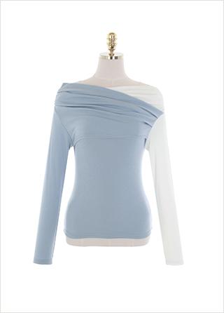 ts2443 글램한 핏감의 배색 슬림 랩 스타일 오프숄더 티셔츠 tee