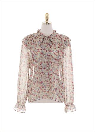 bs5879 화려한 플라워 패턴의 타이 프릴 블라우스 blouse