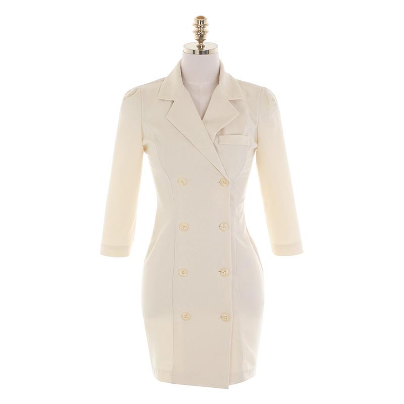 op11116 페미닌한 라인이 돋보이는 7부소매 H라인 슬림 자켓 카라 원피스 dress