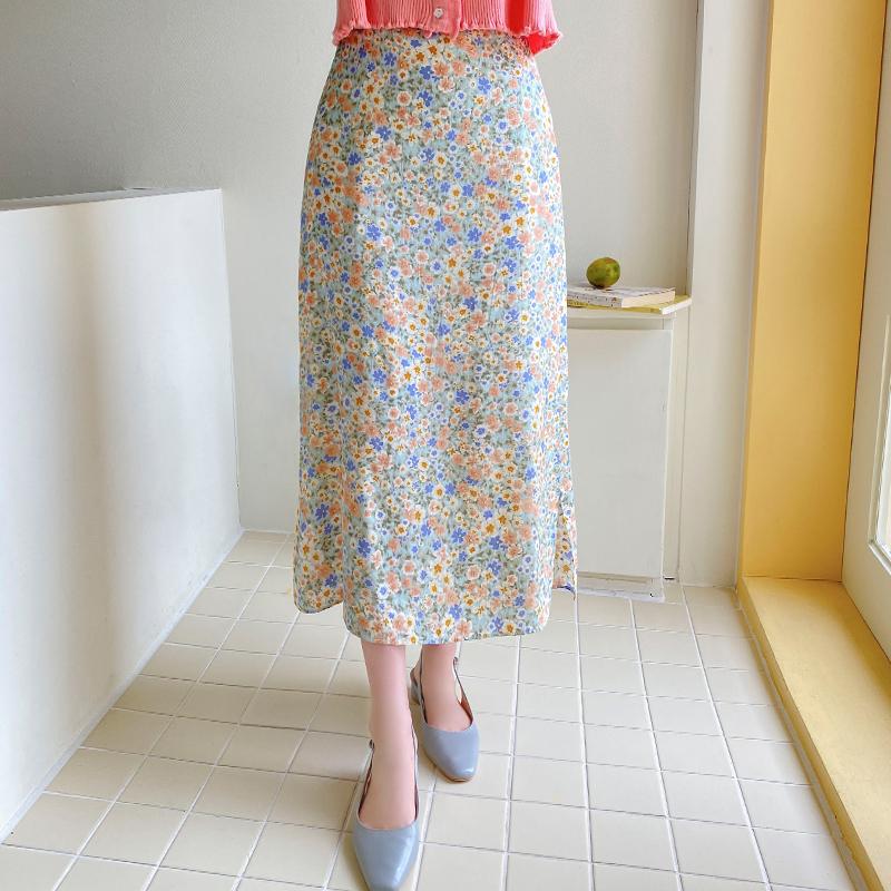 sk4726 러블리한 무드의 알록 달록한 플라워 패턴 뒷밴딩 세미 A라인 쉬폰 롱 스커트 skirt