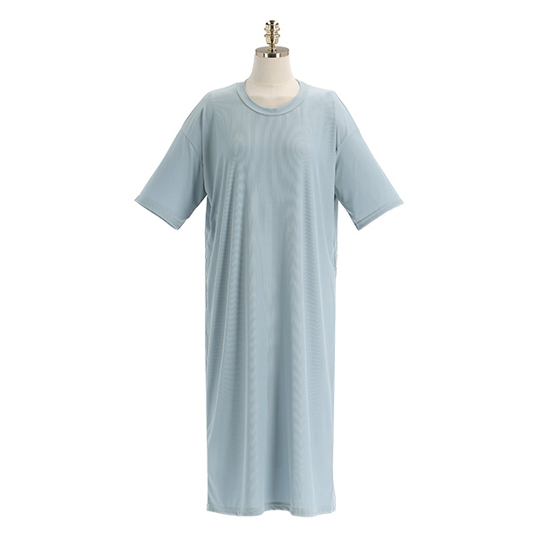 op11177 부드럽고 찰랑찰랑한 소재의 잔골지 라운드넥 반팔 A라인 롱원피스 dress