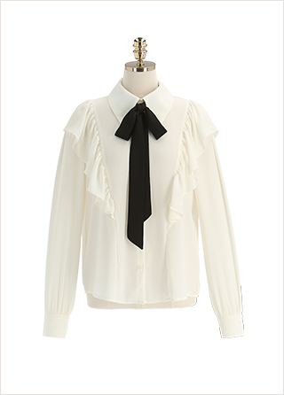 bs5906 러블리한 무드의 배색 리본 타이 포인트 프릴 쉬폰 블라우스 blouse