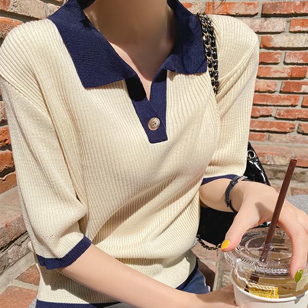 nt2690 배색라인으로 포인트 주기 좋은 오픈 카라넥 반팔 니트 knit