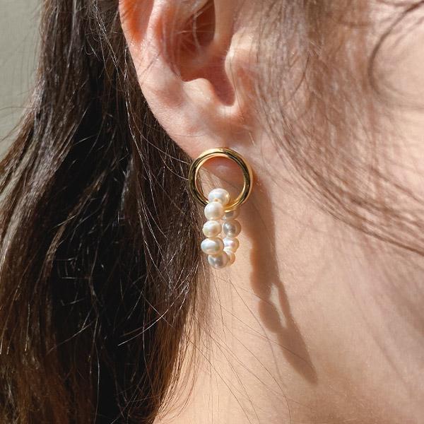 ac5006 영롱한 담수 진주 장식의 더블링 드롭 이어링 earring