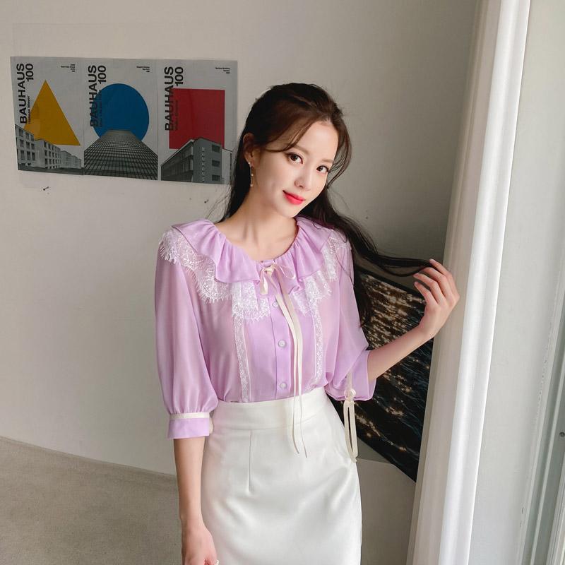 bs5913 러블리한 리본 장식의 레이스 러플넥 5부 소매 시스루 쉬폰 블라우스 blouse