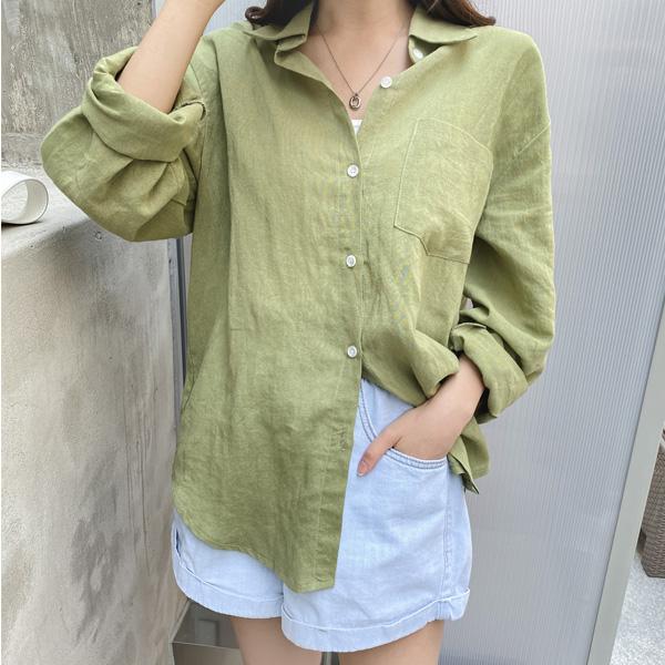 bs5937 데일리하게 입기 좋은 라이트한 린넨소재의 베이직 셔츠 blouse